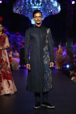 Men's Wear Onyx Sherwani Jacket with Blue Mushroom Flower Motifs - Manish Malhotra - Amazon India Couture Week 2015.JPG