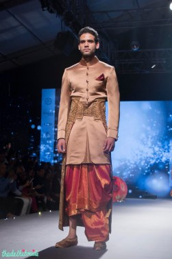 Men's Wear - Pink Sherwani Jacket with Kanjeevaram Dhoti & Embroided Gold Camarbandh with trail - Tarun Tahiliani - BMW India Bridal Fashion Week 2015