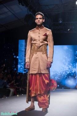 Men's Wear - Pink Sherwani Jacket with Kanjeevaram Dhoti & Embroided Gold Camarbandh with trail - Tarun Tahiliani - BMW India Bridal Fashion Week 2015