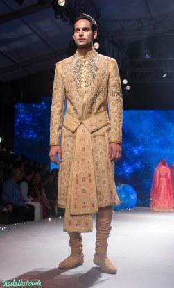 Men's Wear - Sand Colour Sherwani Jacket with Zardozi Embroidery & Waist Belt - Tarun Tahiliani - BMW India Bridal Fashion Week 2015