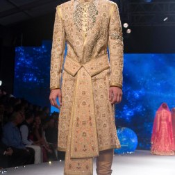Men's Wear - Sand Colour Sherwani Jacket with Zardozi Embroidery & Waist Belt - Tarun Tahiliani - BMW India Bridal Fashion Week 2015