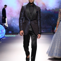 Men's Wear - Two tones blue and black Dinner Blazer Jacket with Pants - Tarun Tahiliani - BMW India Bridal Fashion Week 2015