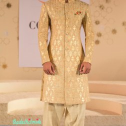Beige sherwani jacket with print print pyjamas