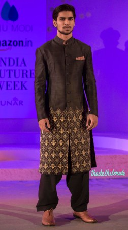 Dark brown sherwani jacket with pyjamas