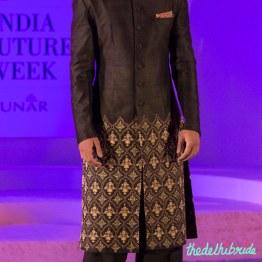 Dark brown sherwani jacket with pyjamas