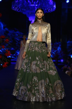 Olive Green Skirt with Mushroom Flower Motifs _ Metallic Silver Jacket - Manish Malhotra - Amazon India Couture Week 2015