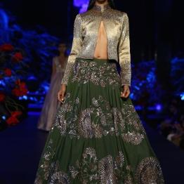 Olive Green Skirt with Mushroom Flower Motifs _ Metallic Silver Jacket - Manish Malhotra - Amazon India Couture Week 2015