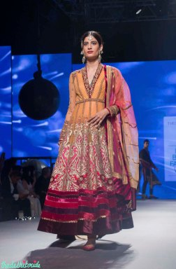 Orange & Pink Anarkali with Heavy Zari Work - Tarun Tahiliani - BMW India Bridal Fashion Week 2015
