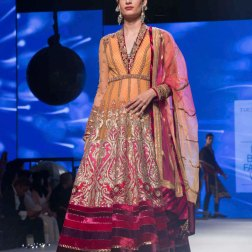 Orange & Pink Anarkali with Heavy Zari Work - Tarun Tahiliani - BMW India Bridal Fashion Week 2015