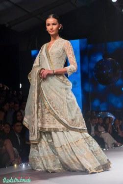 Pale Blue Embroidered kurta Lehenga - Tarun Tahiliani - BMW India Bridal Fashion Week 2015