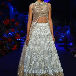 Pale Blue Embroidered Lehenga Skirt with Heavy Floral Border, Onion Pink Crop top & Onion Pink Sheer Jacket with Silver Stripes - Manish Malhotra - Amazon India Couture Week 2015