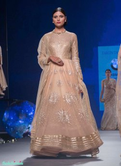 Pastel Anarkali with Silver Sequin Star Motifs & Gold Yoke - Tarun Tahiliani - BMW India Bridal Fashion Week 2015