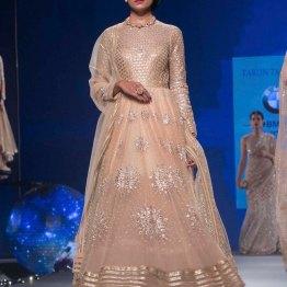 Pastel Anarkali with Silver Sequin Star Motifs & Gold Yoke - Tarun Tahiliani - BMW India Bridal Fashion Week 2015