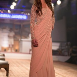Peach Saree with Zardosi Blouse - Monisha Jaising - Amazon India Couture Week 2015