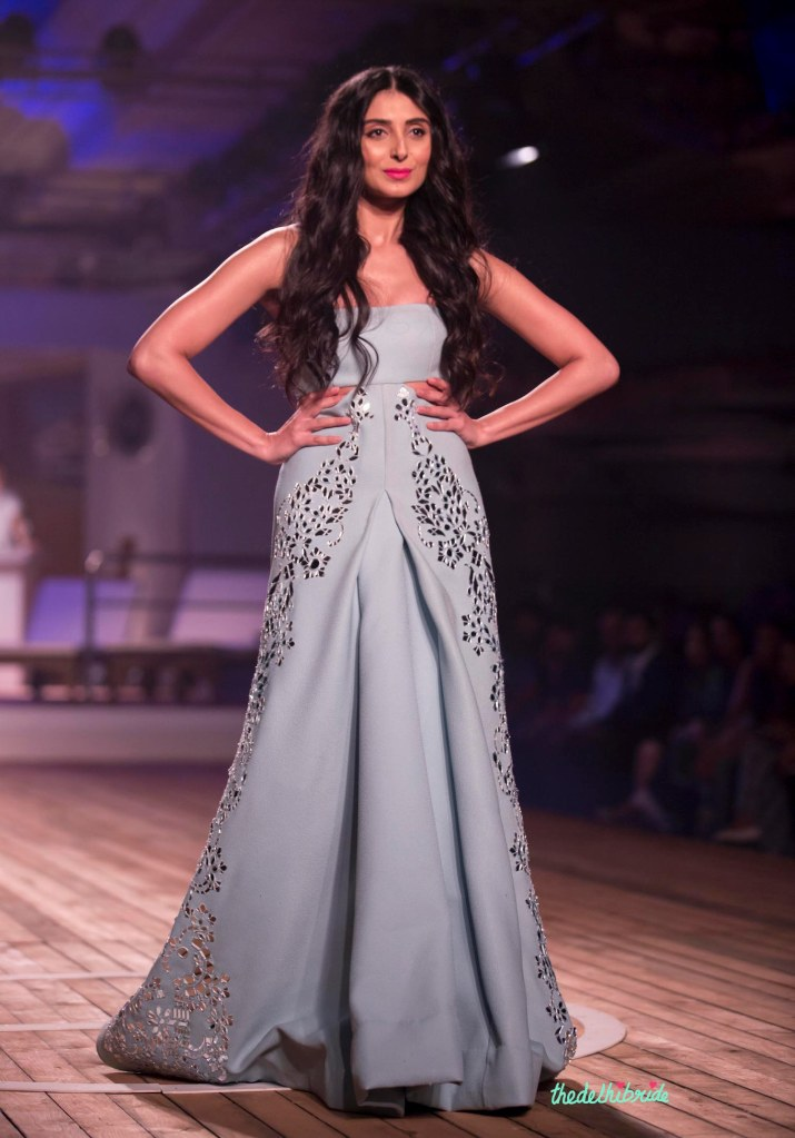Pernia Qureshi in Winter Sky blue Lazer Cut Gown - Monisha Jaising - Amazon India Couture Week 2015