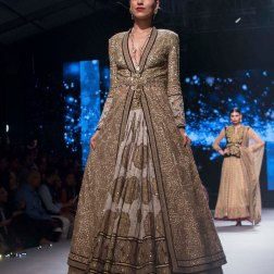 Printed lehenga Heavy Sequin Gold Long Jacket 1 - Tarun Tahiliani - BMW India Bridal Fashion Week 2015