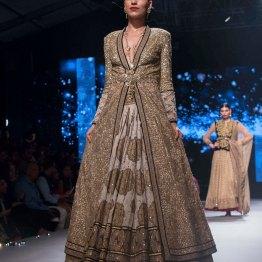 Printed lehenga Heavy Sequin Gold Long Jacket 1 - Tarun Tahiliani - BMW India Bridal Fashion Week 2015