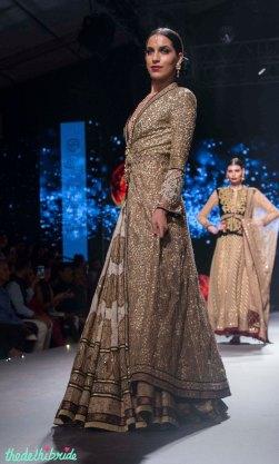 Printed lehenga Heavy Sequin Gold Long Jacket 2 - Tarun Tahiliani - BMW India Bridal Fashion Week 2015