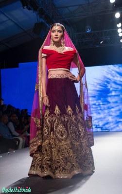 Red Off-Shoulder Blouse, Deep Purple Lehenga with Zari Work _ Pink Dupatta - Tarun Tahiliani - BMW India Bridal Fashion Week 2015