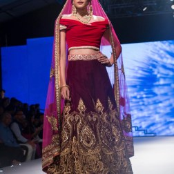 Red Off-Shoulder Blouse, Deep Purple Lehenga with Zari Work _ Pink Dupatta - Tarun Tahiliani - BMW India Bridal Fashion Week 2015