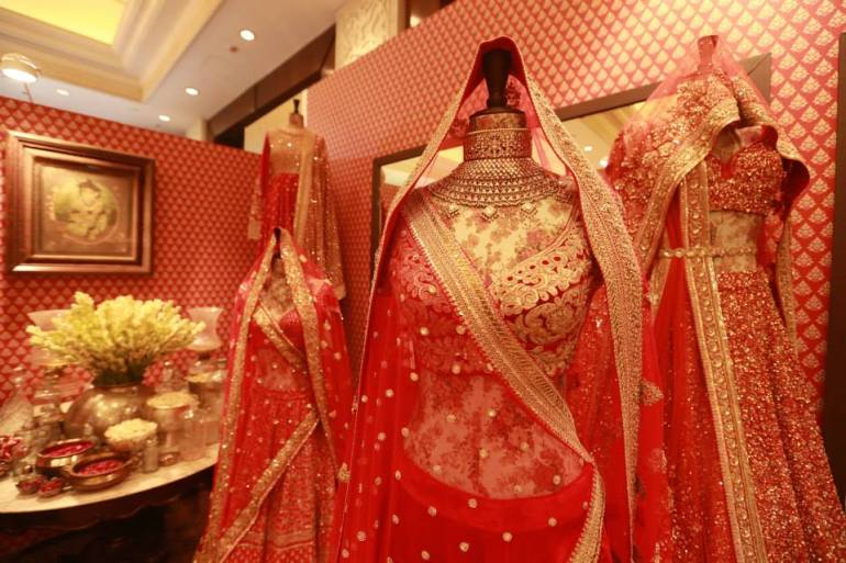 Sabyasachi - red bridal lehenga collection - Vogue Wedding Show 2015 image from Vogue