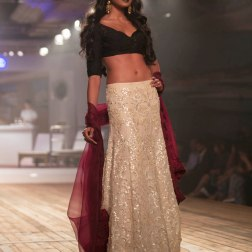 Sand Colour Sequinned Lehenga Skirt with Black Basket Weaving Blouse - Monisha Jaising - Amazon India Couture Week 2015 .jpg