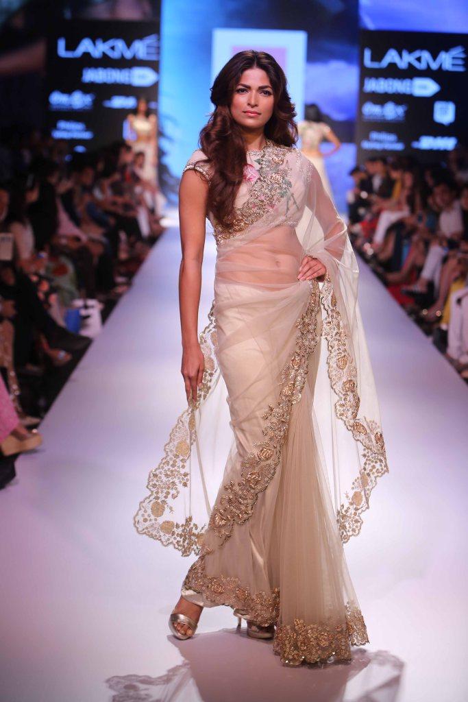 Sari - Ivory net sari with silver embroidered border - Anushree Reddy - Lakme Fashion Week Winter-Festive 2015