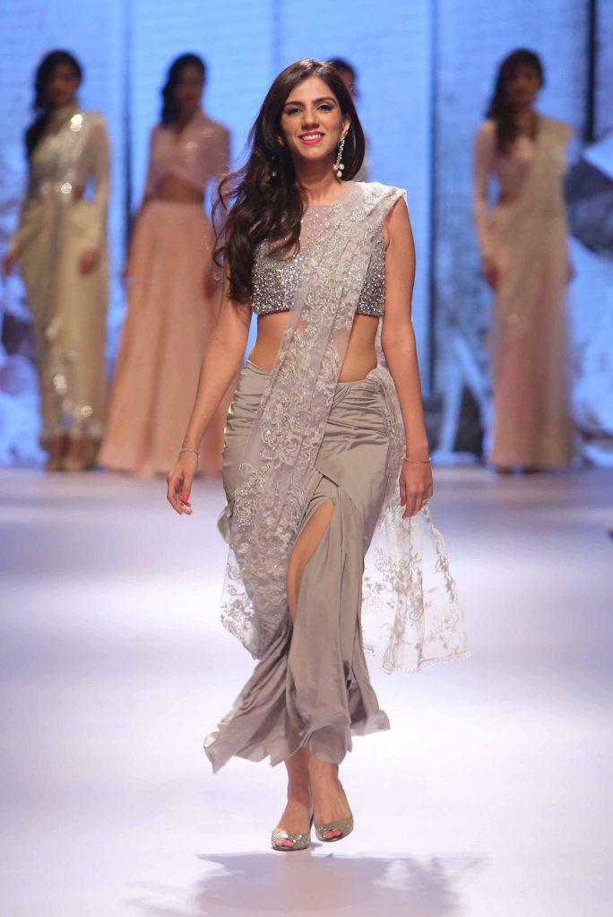 Sari - Metallic silver pre-draped sari with lace pallu 1 - Nishika Lulla - Neeta Lulla - Lakme Fashion Week Winter-Festive 2015