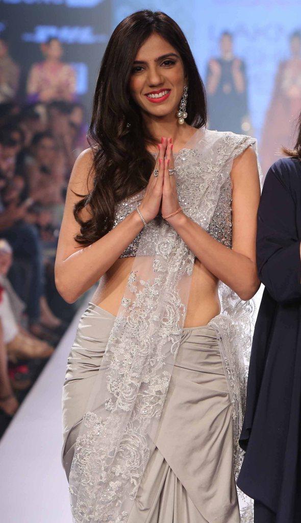 Sari - Metallic silver pre-draped sari with lace pallu details - Nishika Lulla - Neeta Lulla - Lakme Fashion Week Winter-Festive 2015