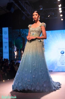 Shaded Lehenga Set with 3D Floral Motifs - Tarun Tahiliani - BMW India Bridal Fashion Week 2015