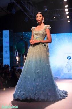 Shaded Lehenga Set with 3D Floral Motifs - Tarun Tahiliani - BMW India Bridal Fashion Week 2015