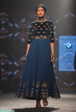 Shantanu and Nikhil - Blue Anarkali with Velvet Yoke and Gold Motifs - BMW India Bridal Fashion Week 2015