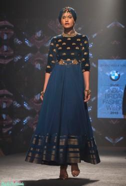 Shantanu and Nikhil - Blue Anarkali with Velvet Yoke and Gold Motifs - BMW India Bridal Fashion Week 2015