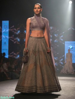 Shantanu and Nikhil - Grey Sleeveless Blouse and Embroidered Metallic Copper Lehenga - BMW India Bridal Fashion Week 2015