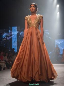 Shantanu and Nikhil - Layered gown in peach with metallic gold yoke - BMW India Bridal Fashion Week 2015