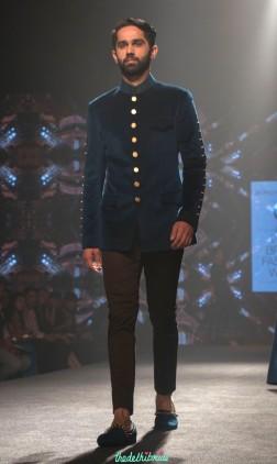 Shantanu and Nikhil - Men's Wear - Prussia Blue Bandhgala Jacket with Gold Buttons - BMW India Bridal Fashion Week 2015