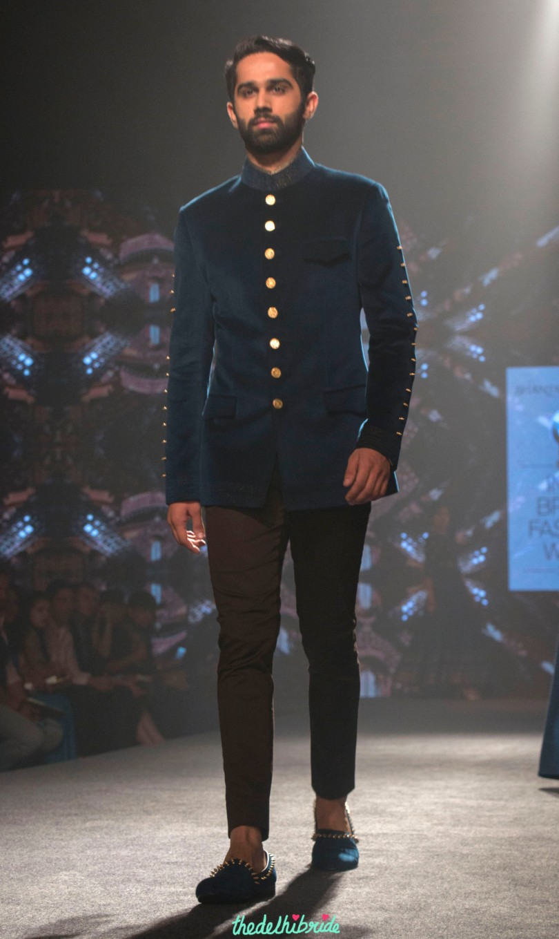 Shantanu And Nikhil Men S Wear Prussia Blue Bandhgala Jacket With Gold Buttons Bmw India