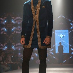 Shantanu and Nikhil - Men's Wear - Prussia Blue Jacket with gold border cuffs and lapels - BMW India Bridal Fashion Week 2015