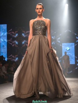 Shantanu and Nikhil - Metallic Grey Gown with Embellished Yoke - BMW India Bridal Fashion Week 2015