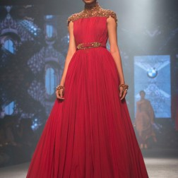 Shantanu and Nikhil - Red Gown with Emboidered Shoulders in Gold and Cinched Waist Belt - BMW India Bridal Fashion Week 2015