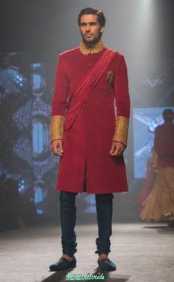 Shantanu and Nikhil - Red Sherwani Jacket with Dull Gold Embroidered Cuffs and Collar - BMW India Bridal Fashion Week 2015