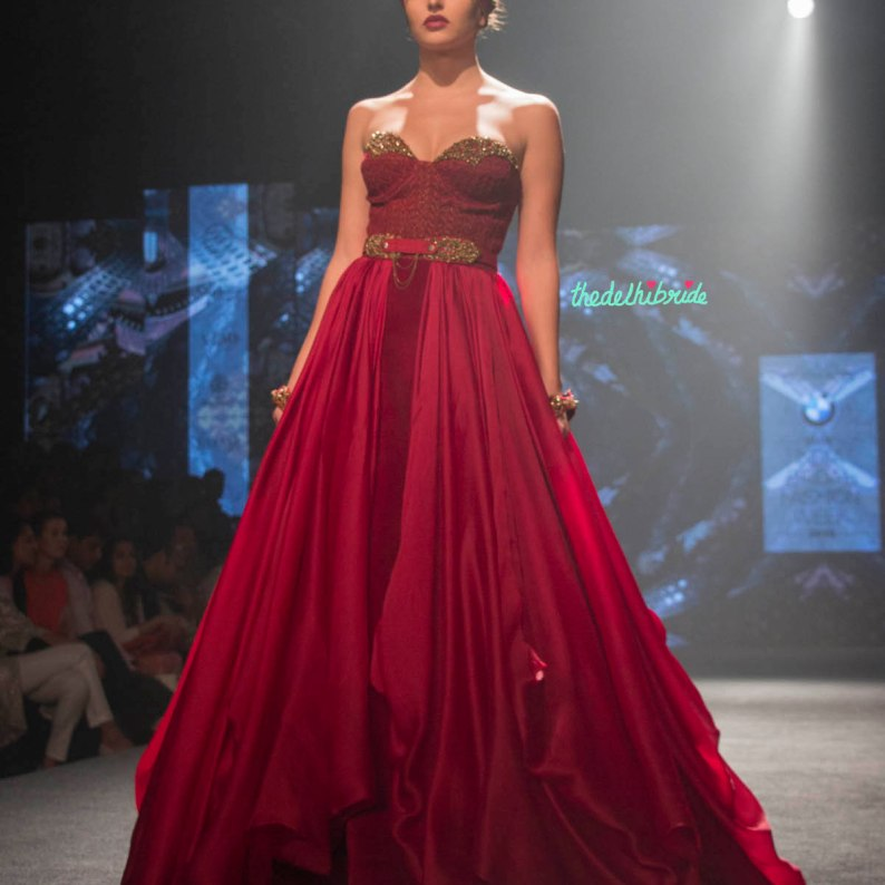 Shantanu and Nikhil - Royal Layered Red Gown with corset fitted yoke - BMW India Bridal Fashion Week 2015