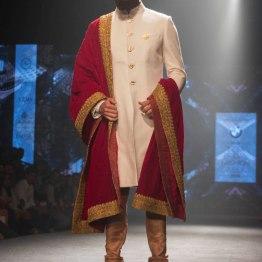 Shantanu & Nikhil - Men's Wear - Ivory Sherwani with Royal Red & Gold Dupatta - BMW India Bridal Fashion Week 2015