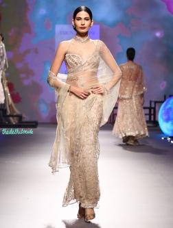 Sheer embroidered net sari with swarovski embellishments and embroidery   Halter neck blouse - Tarun Tahiliani - BMW India Bridal Fashion Week 2015