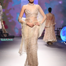 Sheer embroidered net sari with swarovski embellishments and embroidery | Halter neck blouse - Tarun Tahiliani - BMW India Bridal Fashion Week 2015