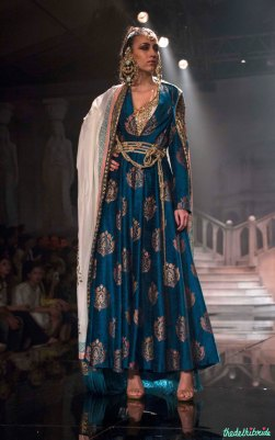Suneet Varma - Cobalt Blue Anarkali with Gold Embroidered Motifs - BMW India Bridal Fashion Week 2015