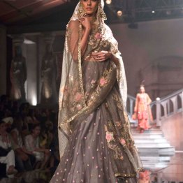 Suneet Varma - Dust Grey Lehegna and Blouse with Pink Floral Embroidery - BMW India Bridal Fashion Week 2015