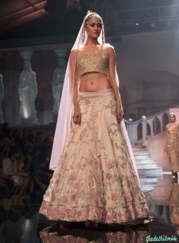 Suneet Varma - Embellished Gold Blouse and Ivory Lehenga with Embroidered Pink Flowers - BMW India Bridal Fashion Week 2015