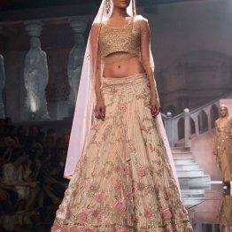 Suneet Varma - Embellished Gold Blouse and Ivory Lehenga with Embroidered Pink Flowers - BMW India Bridal Fashion Week 2015