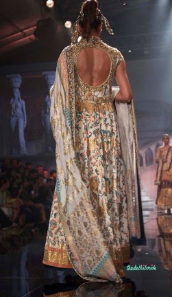 Suneet Varma - Embroidered Ivory Anarkali with Gold Work Back - BMW India Bridal Fashion Week 2015